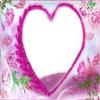 fotomontaje corazon rosa y flores